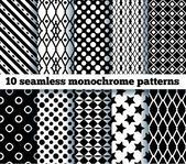 10 seamless monochrome patterns EPS10 no gradient no transpar