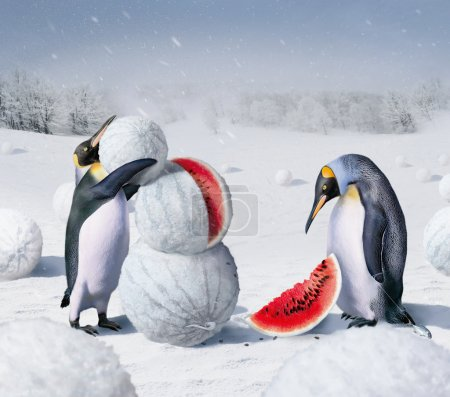 Photo for Fafantasy of penguins and watermelon - Royalty Free Image