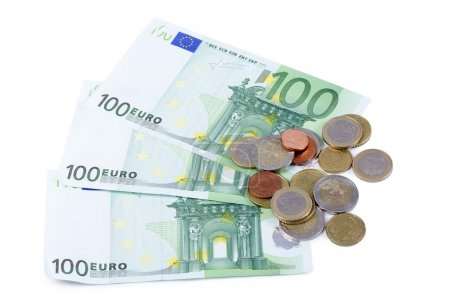 Various Euro currency bills and coins