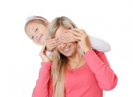 The daughter closes to mum of an eye hands