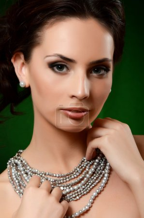 Woman in pearl necklace