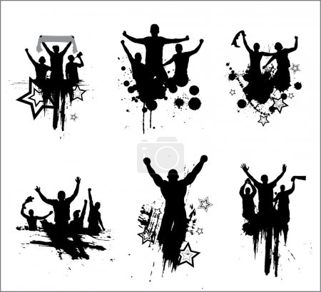 Set of silhouettes for sports championships and concerts