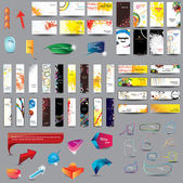Mix Collection vertical and horizontal cards, headers ,bubbles for speech and elements for web design on different topics.