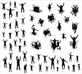 Set of poses from fans for sports championships and music concerts. Boys and girls
