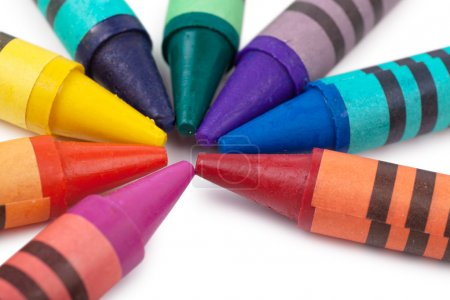 Photo for Colorful wax pencils isolated over white background - Royalty Free Image