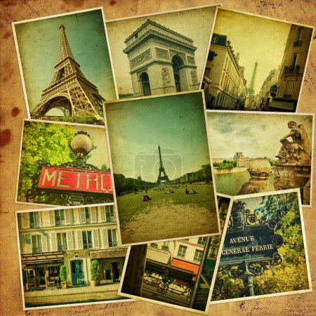 Photo for Vintage travel background with old photos of Paris. - Royalty Free Image