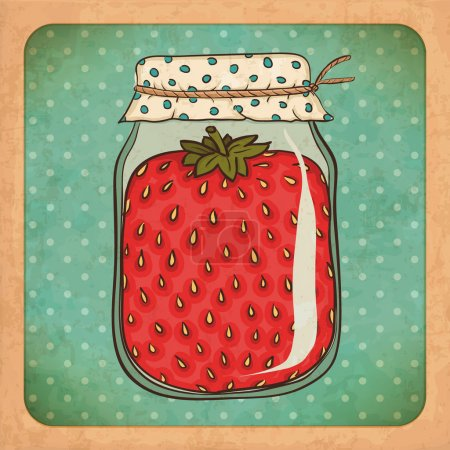 Strawberry jam. Vintage cardboard. Vector Eps10