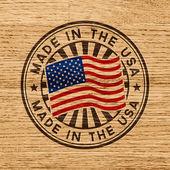 """Постер, картина, фотообои """"сделано в США. штамп на деревянных фоне"""""""