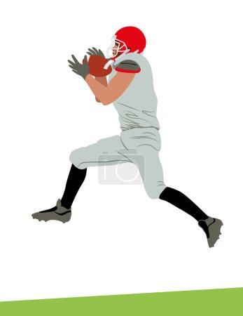Illustration pour Image vectorielle d'un athlète de football américain, joueur qui a sauté haut et attrapé une balle . - image libre de droit