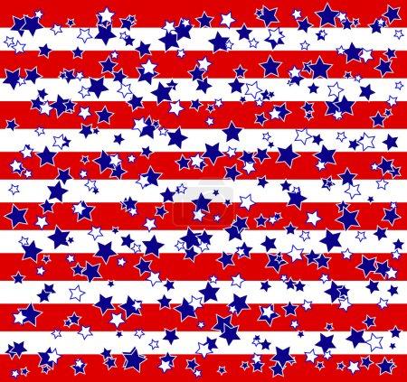 Illustration pour Étoiles patriotiques américaines et fond rayures . - image libre de droit