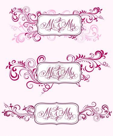 Illustration pour Écrit à la main avec stylo pointu et encre mots de mariage traditionnels M. et Mme dans des cadres ornementaux floraux . - image libre de droit