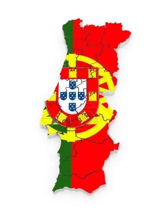 Photo pour Carte tridimensionnelle du Portugal. 3d - image libre de droit