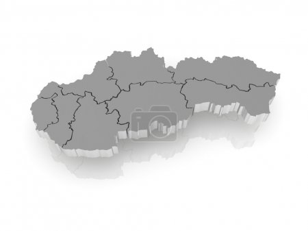 Three-dimensional map of Slovakia.