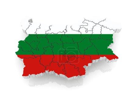 Photo pour Carte en trois dimensions de la Bulgarie. 3d - image libre de droit