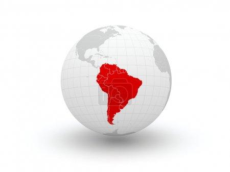 Photo pour Globe. 3D. Amérique du Sud. éléments de cette image fournie par la nasa - image libre de droit