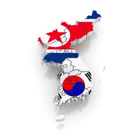Photo pour Carte de la Corée du Sud et du Nord. 3d - image libre de droit