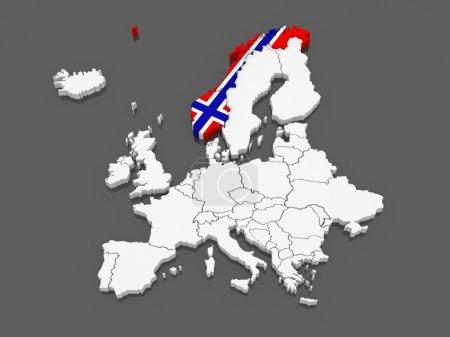 Photo pour Carte d'Europe et de Norvège. 3d - image libre de droit