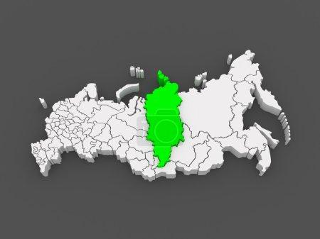 Photo pour Carte de la Fédération de Russie. Territoire de Krasnoïarsk. 3d - image libre de droit