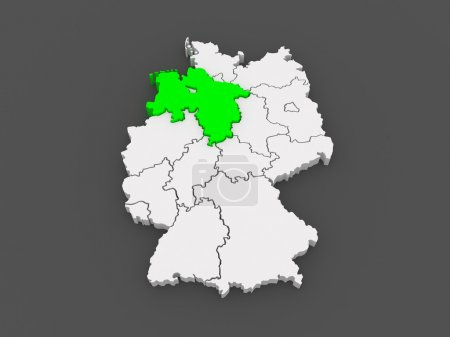 Map of Lower Saxony. Germany.