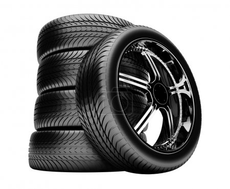 3d tires isolated on white background, no shadow