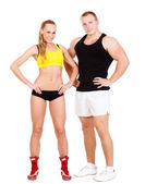 young sportive couple, isolated on white background