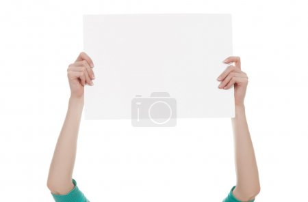 hands holding a blank white paper