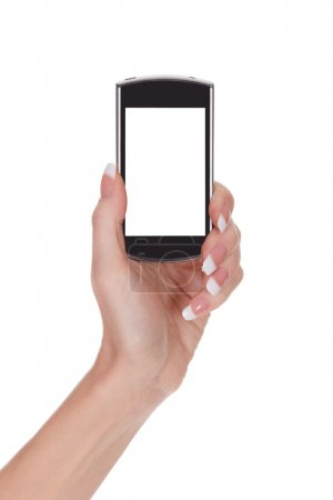 Female hand with smartphone