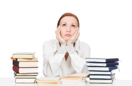 Photo pour Femme avec des livres sur fond blanc - image libre de droit