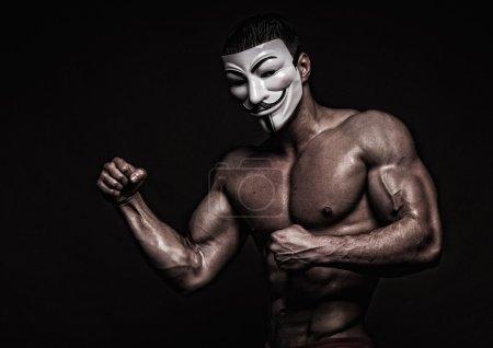 Model in a mask