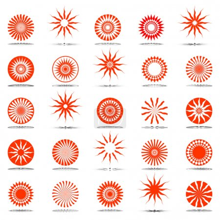 Sun icons. Design elements set.