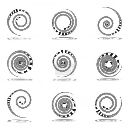 Spiral movement. Design elements set.