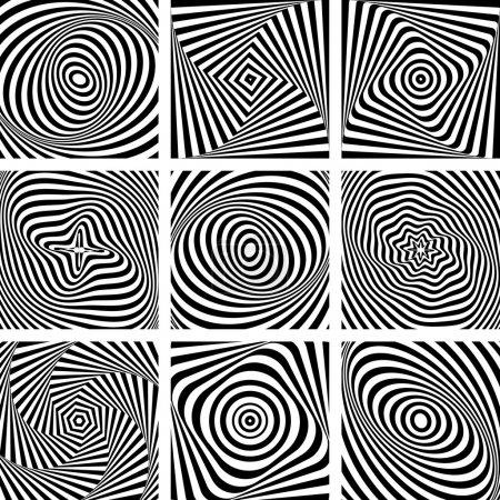 Illustration pour Ensemble de motifs dans la conception de l'art op. Art vectoriel . - image libre de droit