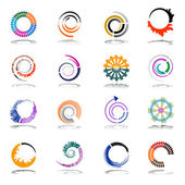 Spiral and rotation design elements Abstract icons set