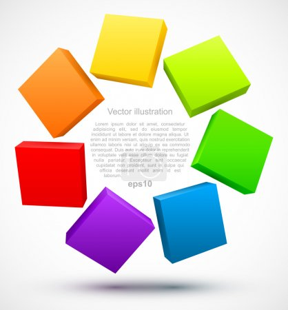 Illustration for Colored plates 3D. Vector illustration - Royalty Free Image