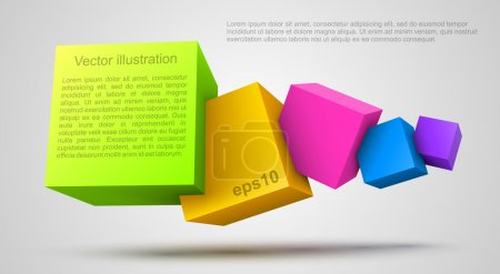 Illustration pour Cubes colorés 3D. Illustration vectorielle - image libre de droit