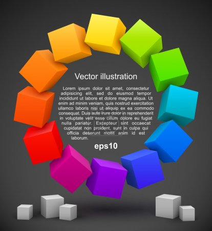 Illustration for Colored cubes 3D. Vector illustration - Royalty Free Image