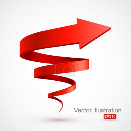 Illustration for Red spiral arrow 3D. Vector illustration - Royalty Free Image