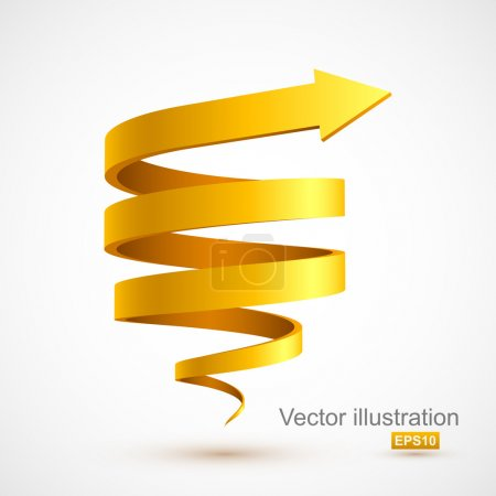 Illustration for Yellow spiral arrow 3D. Vector illustration - Royalty Free Image