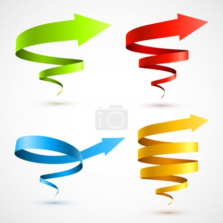 Illustration for Set of colorful spiral arrows 3D. Vector illustration - Royalty Free Image