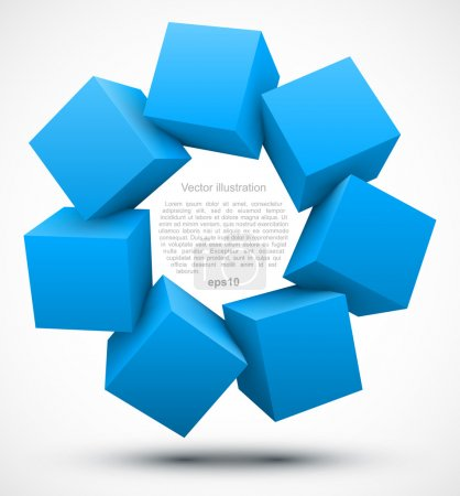 Illustration for Blue cubes 3D. Vector illustration - Royalty Free Image