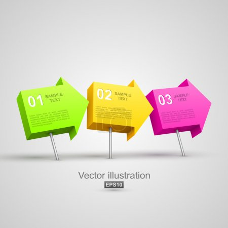 Illustration for Colorful arrow pushpins 3D. Vector illustration - Royalty Free Image