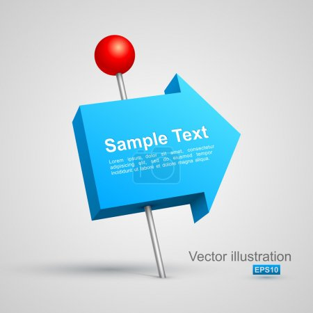 Illustration pour Flèche bleue poussoir 3D. Illustration vectorielle - image libre de droit