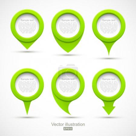 Illustration pour Ensemble de pointeurs de cercle vert 3D. Illustration vectorielle - image libre de droit
