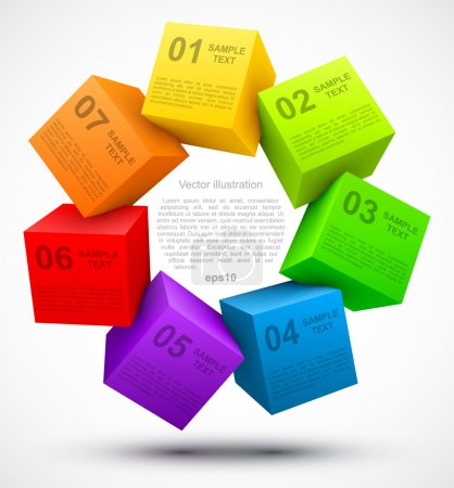 Illustration for Colored cubes 3D with options. Vector illustration - Royalty Free Image