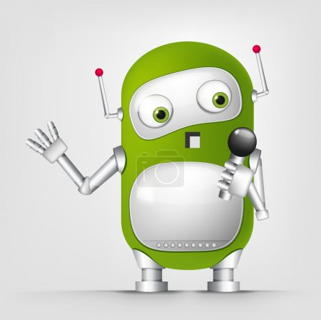 Illustration for Cartoon Character Cute Robot Isolated on Grey Gradient Background. Singing. Vector EPS 10. - Royalty Free Image
