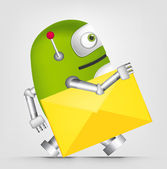 Cartoon Character Cute Robot Isolated on Grey Gradient Background Postman Vector EPS 10