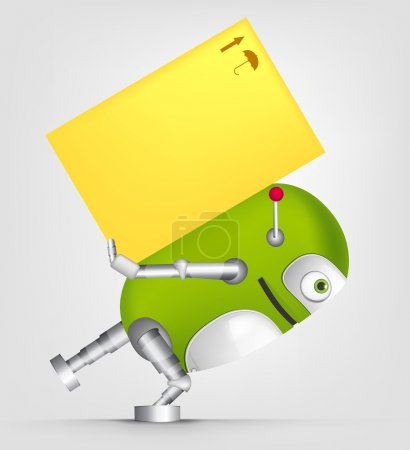 Illustration for Cartoon Character Cute Robot Isolated on Grey Gradient Background. Delivery. Vector EPS 10. - Royalty Free Image