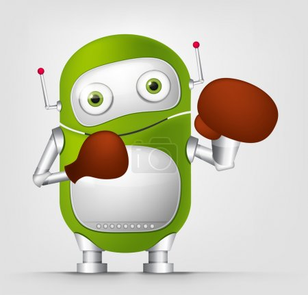 Illustration for Cartoon Character Cute Robot Isolated on Grey Gradient Background. Boxing. Vector EPS 10. - Royalty Free Image