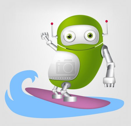 Illustration for Cartoon Character Cute Robot Isolated on Grey Gradient Background. Surfing. Vector EPS 10. - Royalty Free Image