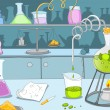 Chemical Laboratory. Cartoon Background. Vector Il...